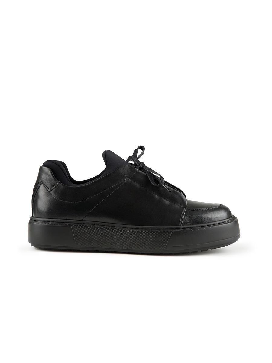 Kumaş Detaylı Bağcıklı %100 Deri Ayakkabı