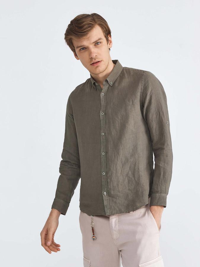 %100 Keten Slim Fit Basic Gömlek
