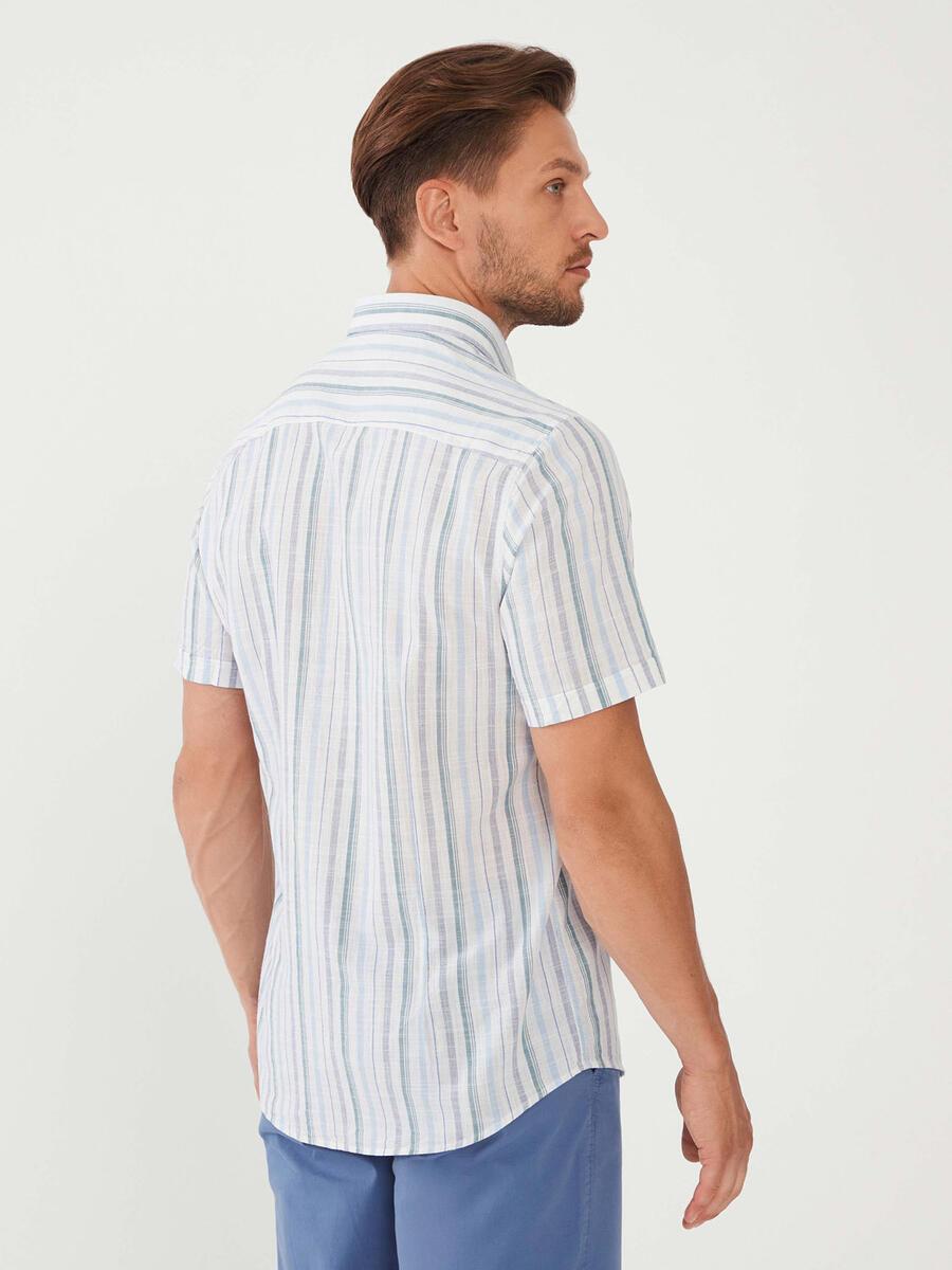 %100 Pamuk Slim Fit Çizgili Gömlek