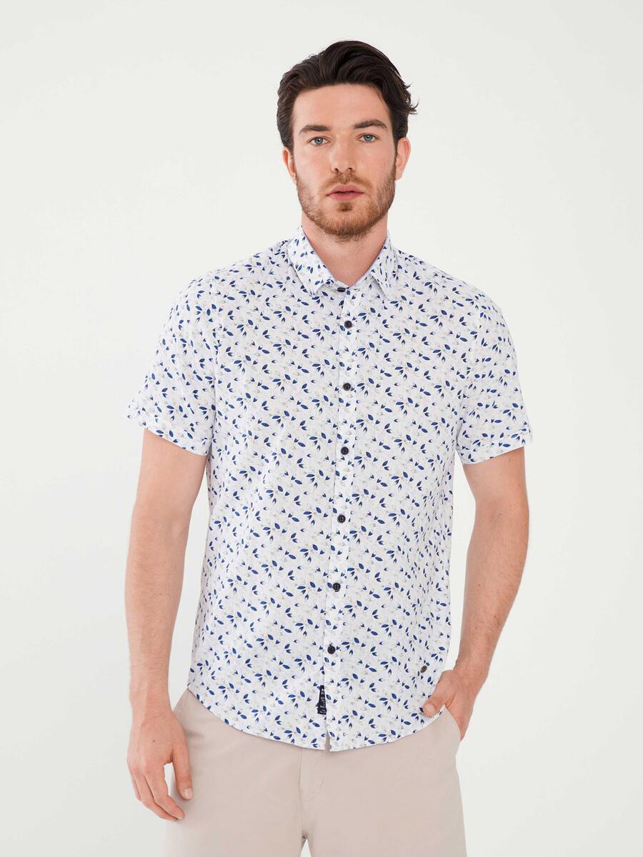 %100 Pamuk Slim Fit Desenli Gömlek