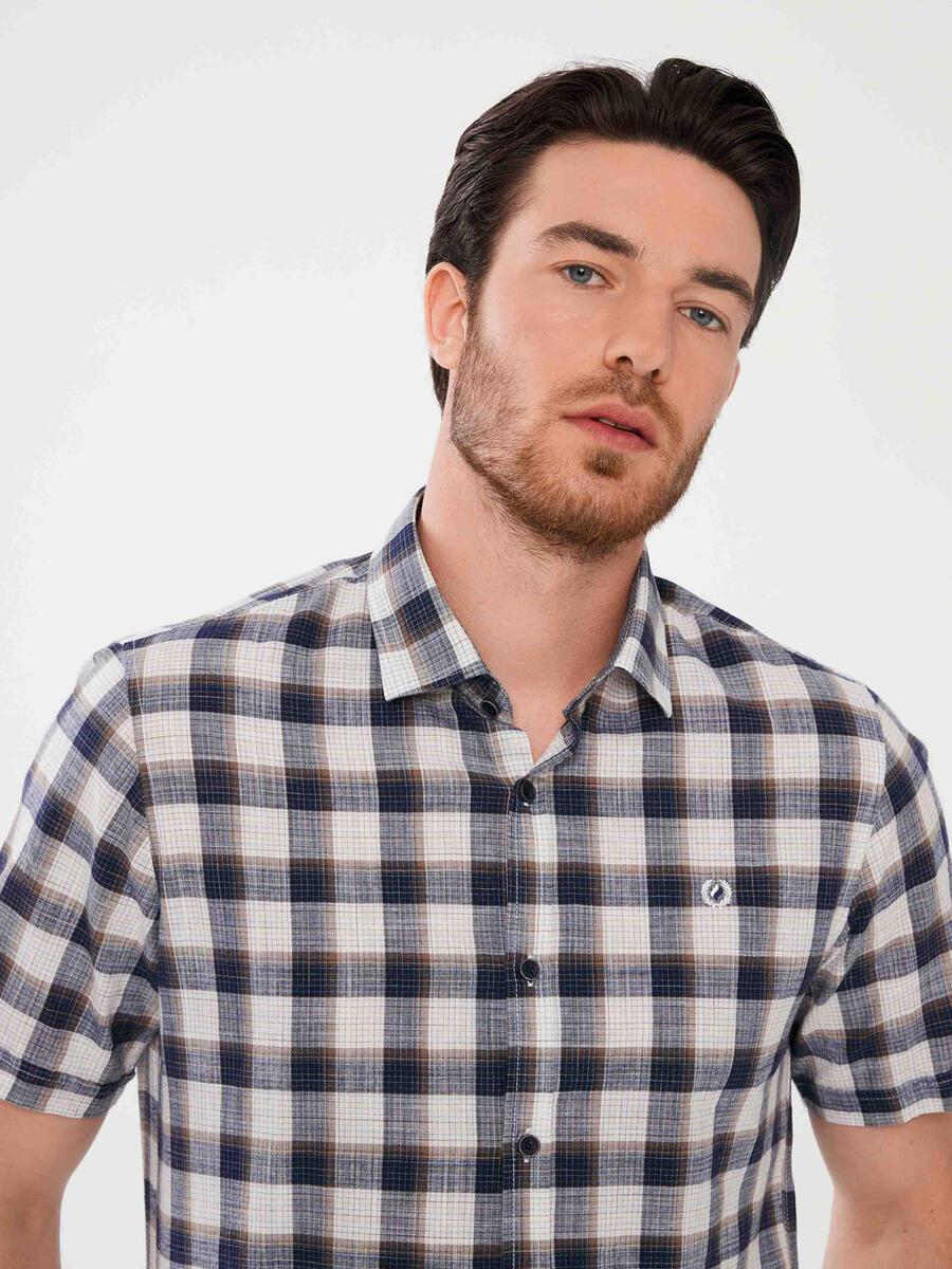 %100 Pamuk Slim Fit Ekoseli Gömlek