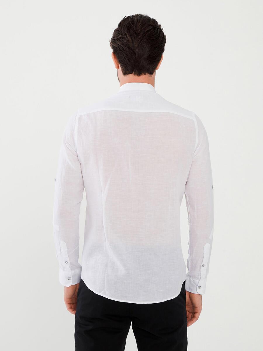 Hakim Yaka Keten Slim Fit Gömlek