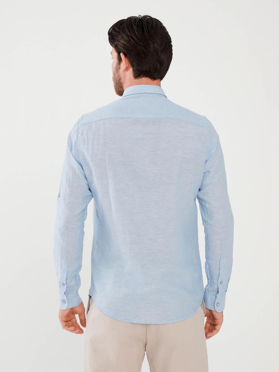 Keten Slim Fit Baskılı Gömlek