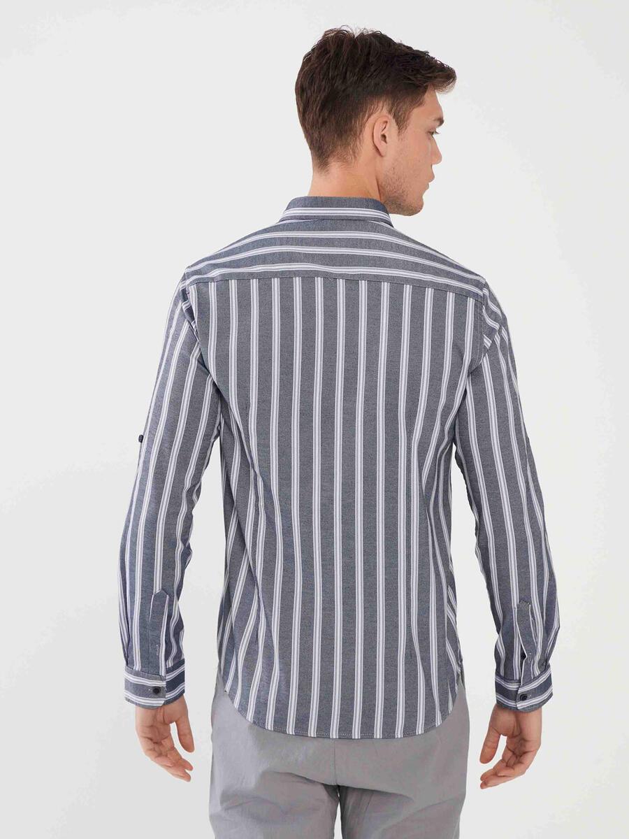 Pamuklu Slim Fit Çizgili Gömlek