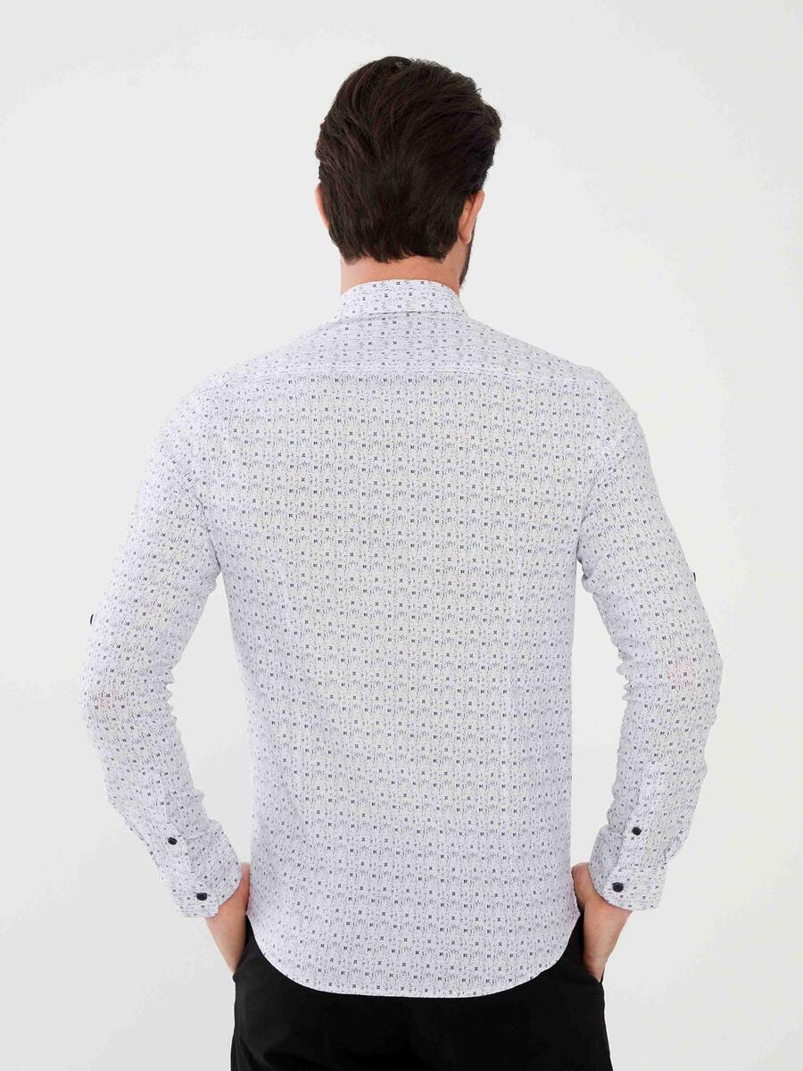 Pamuklu Slim Fit Desenli Gömlek