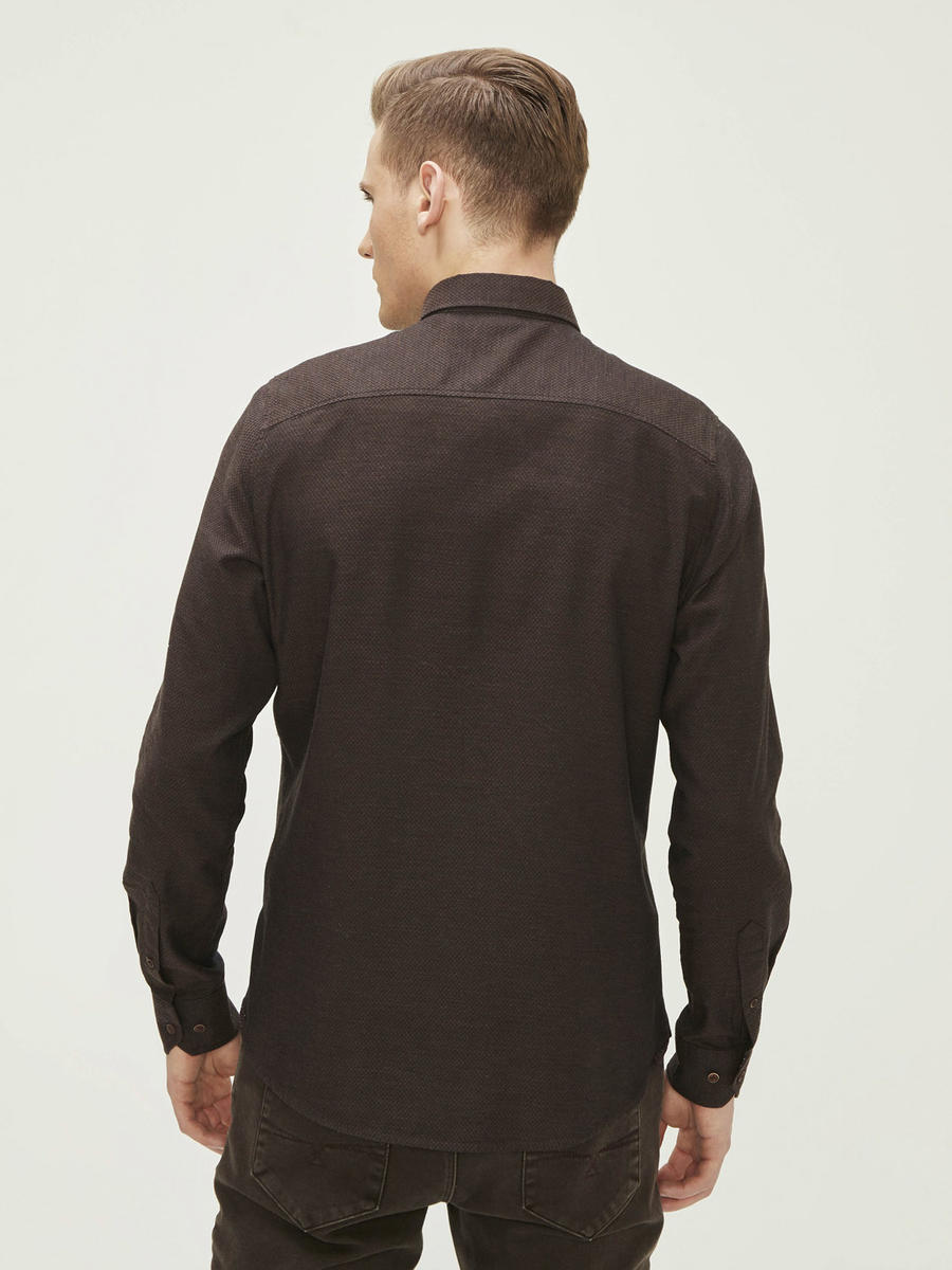 Desenli %100 Pamuklu Slim Fit Gömlek