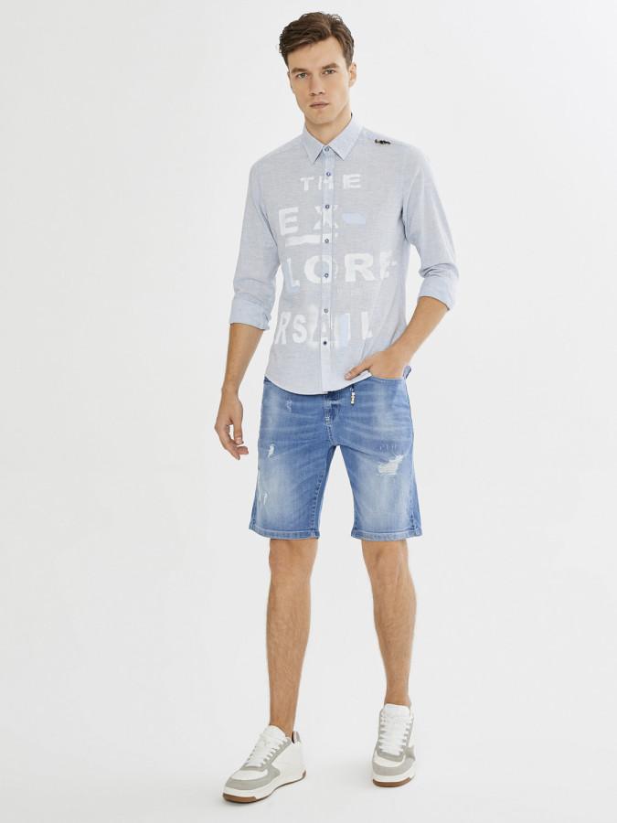 XINT - Xint Baskı ve Boncuk Detaylı Keten Karışımlı Gömlek (1)