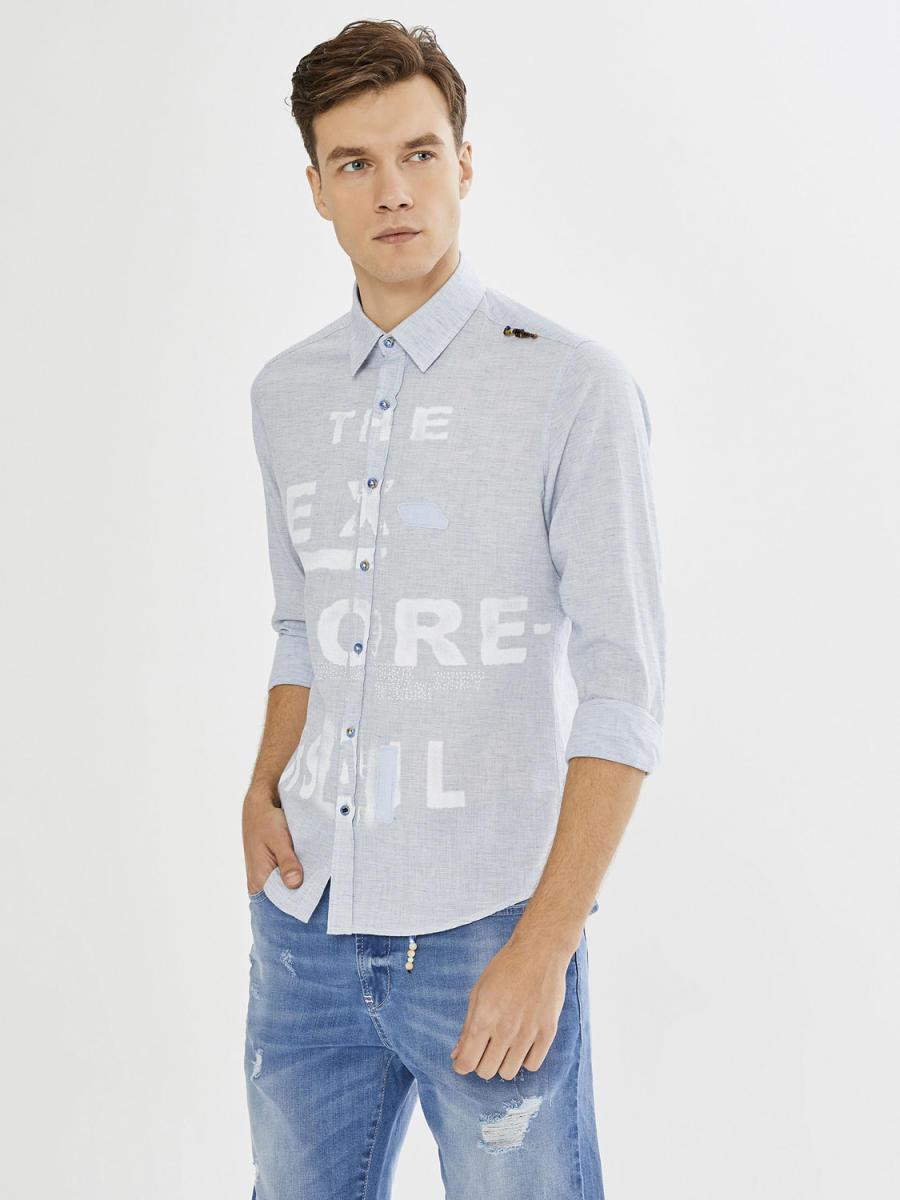 Slim Fit Baskılı Keten Gömlek