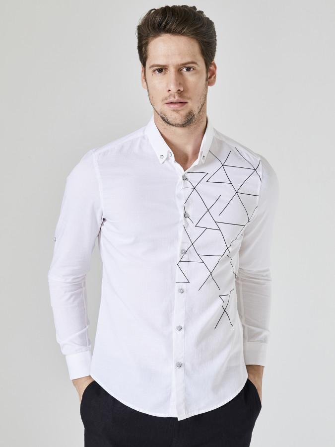 XINT - Xint Baskılı Slim Fit Gömlek