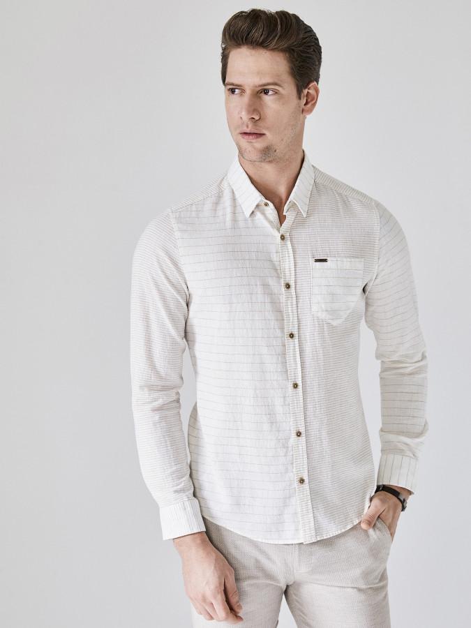 XINT - Xint Çizgili Pamuk Keten Karışımlı Gömlek