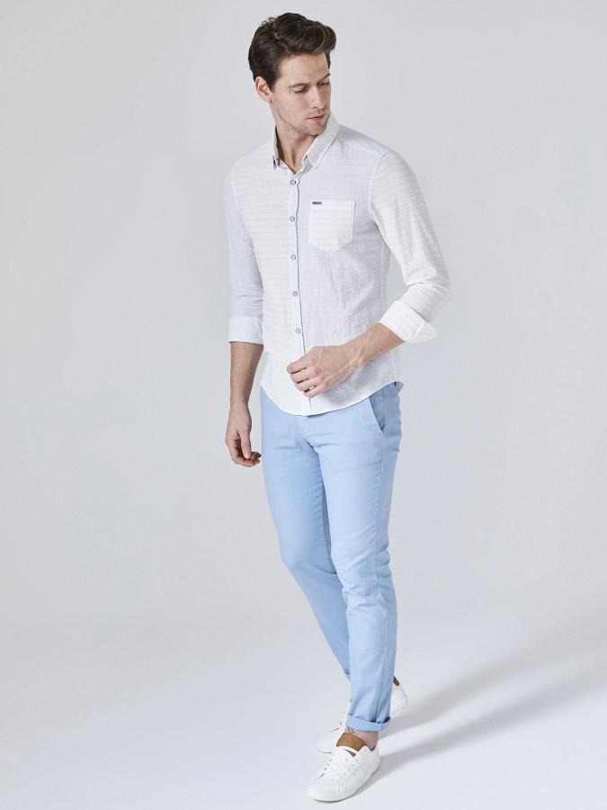 XINT - Xint Çizgili Pamuk Keten Karışımlı Gömlek (1)