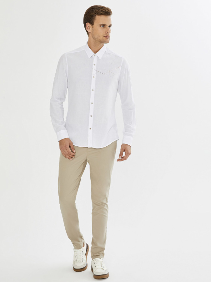 XINT - Xint Erkek Yaka Baskı ve Punto Detaylı Gömlek (1)