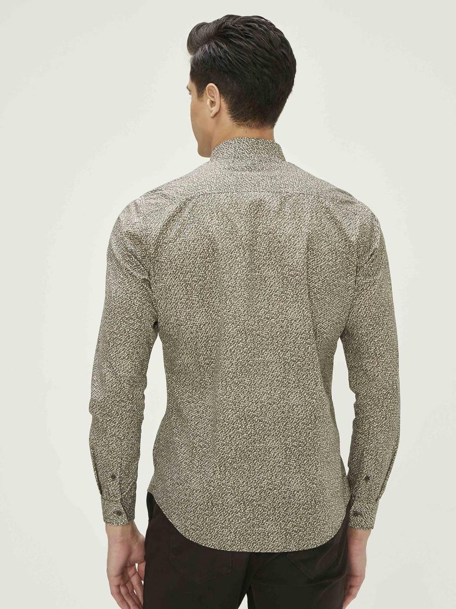 Baskılı %100 Pamuk Slim Fit Gömlek
