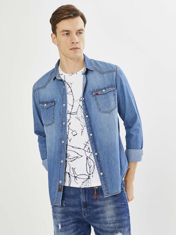 XINT - Xint Erkek Yaka Denim Gömlek (1)