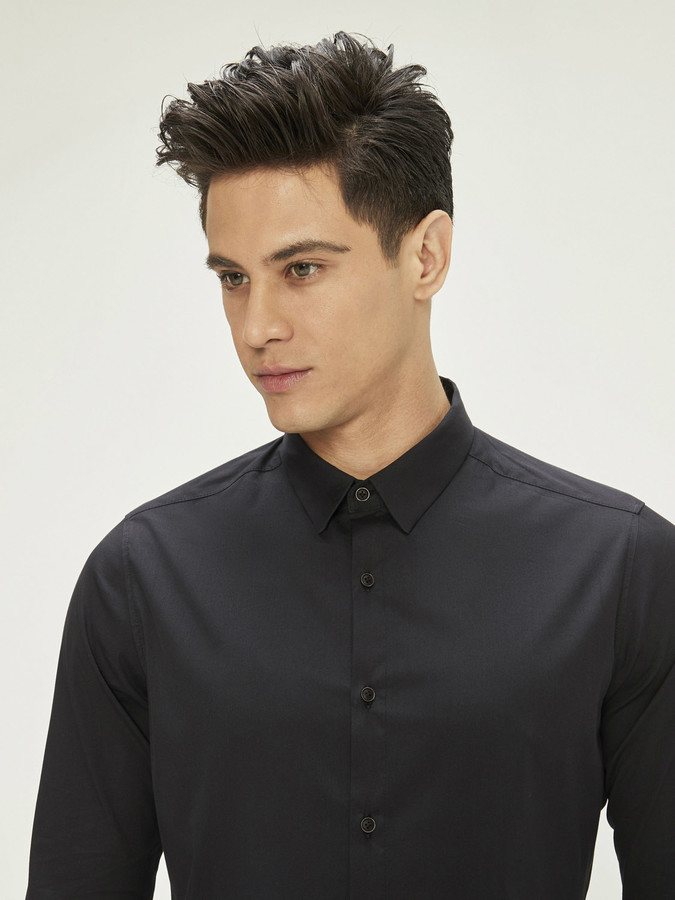 Xint Erkek Yaka Likralı Basic Gömlek - Thumbnail