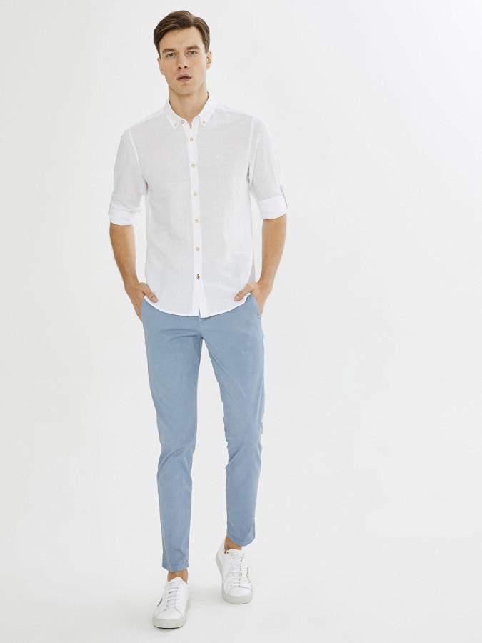 XINT - Xint Erkek Yaka Pamuk Keten Karışımlı Gömlek (1)