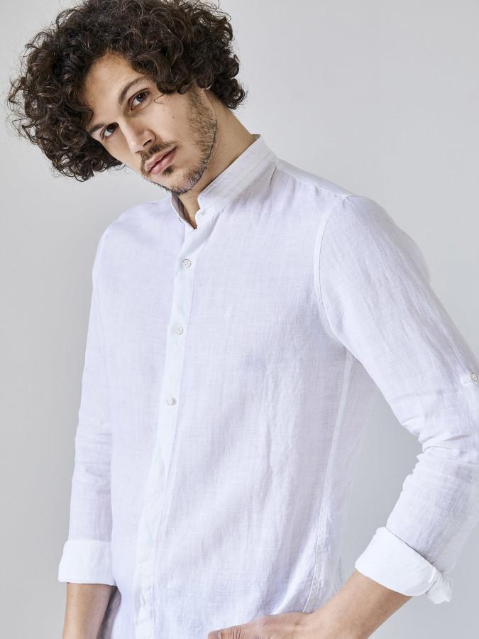 Xint Hakim Yaka %100 Keten Gömlek
