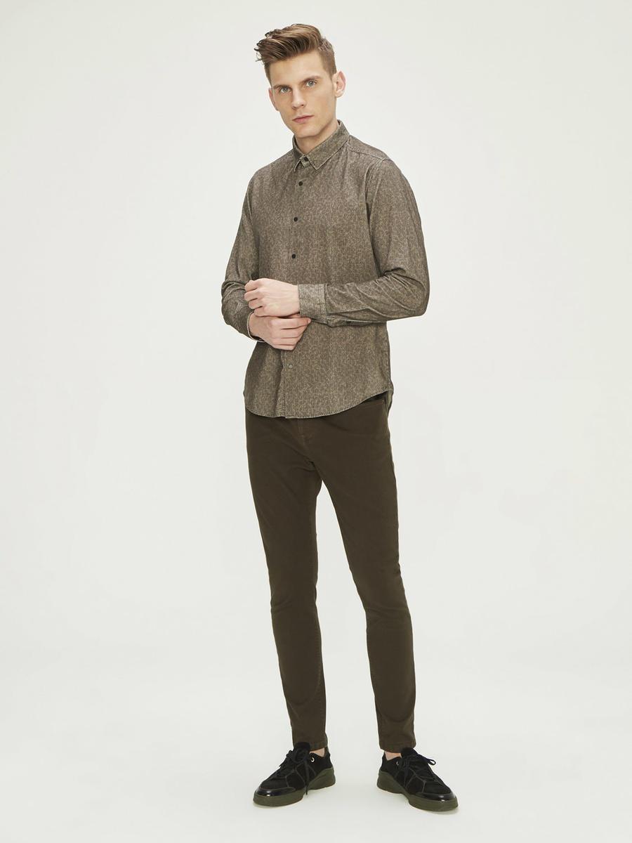 Kadife Üzeri Baskılı %100 Pamuk Slim Fit Gömlek