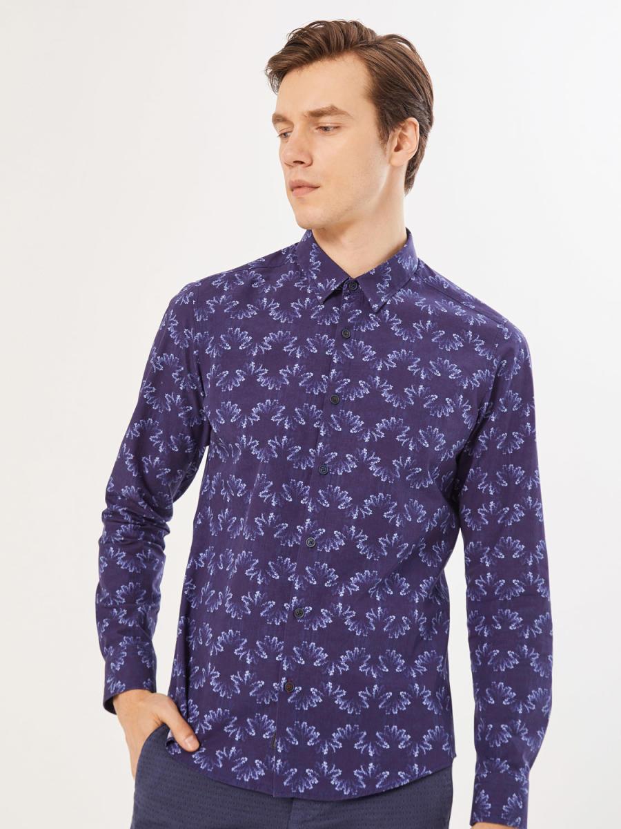 Xint Klasik Yaka Baskı Desenli Gömlek