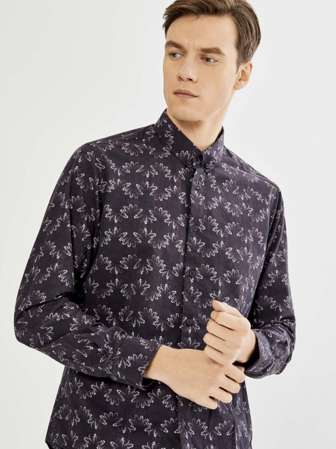 XINT - Xint Klasik Yaka Baskı Desenli Gömlek