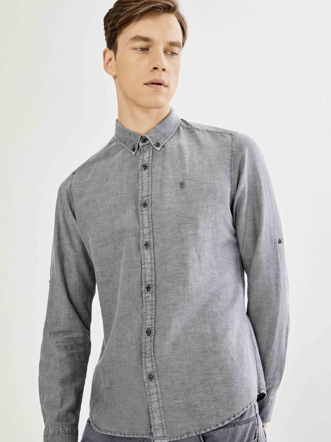 XINT - Xint Kolları Katlamalı Keten Basic Gömlek (1)