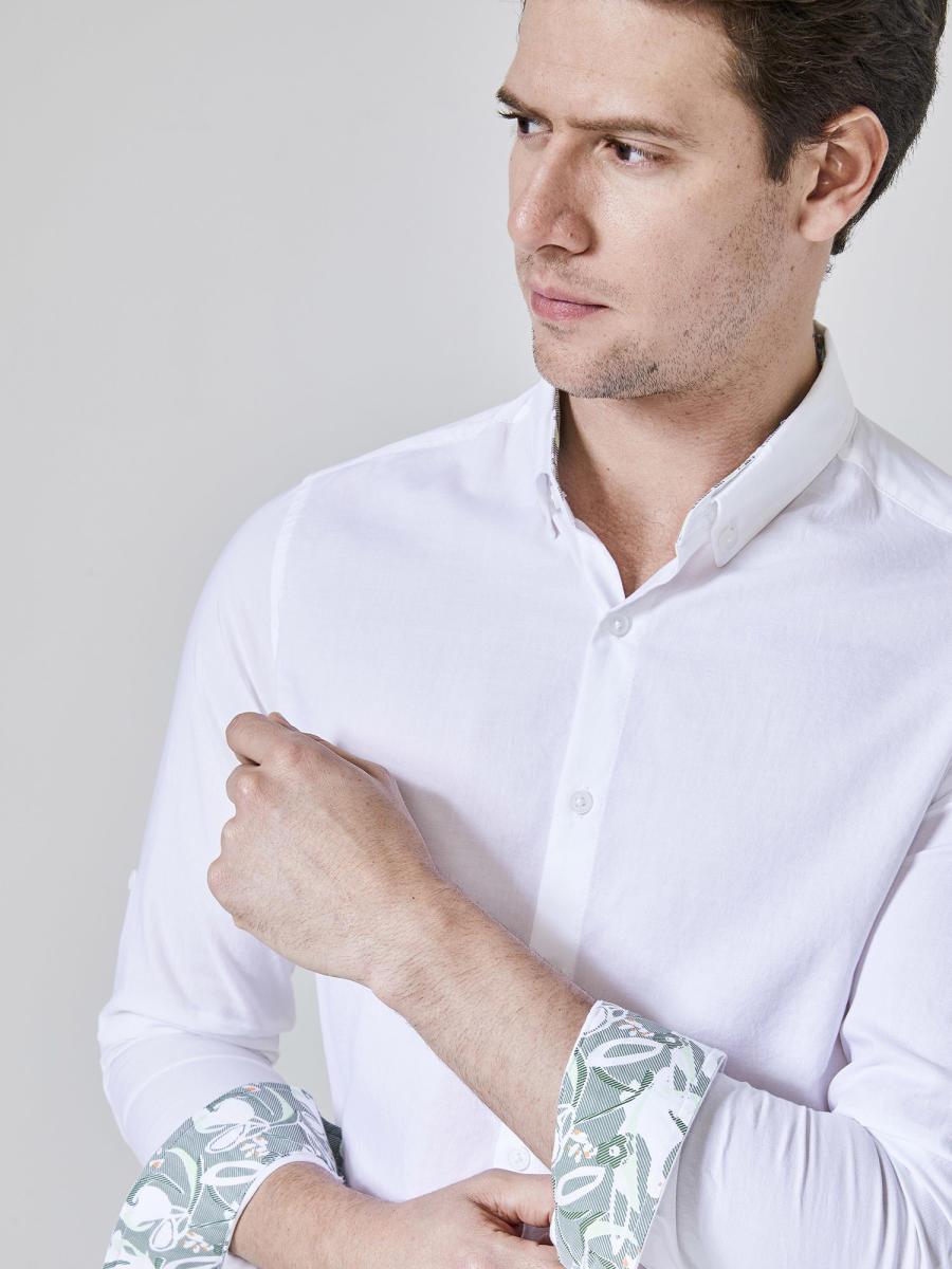 Xint Manşetleri Baskılı Oxford Gömlek