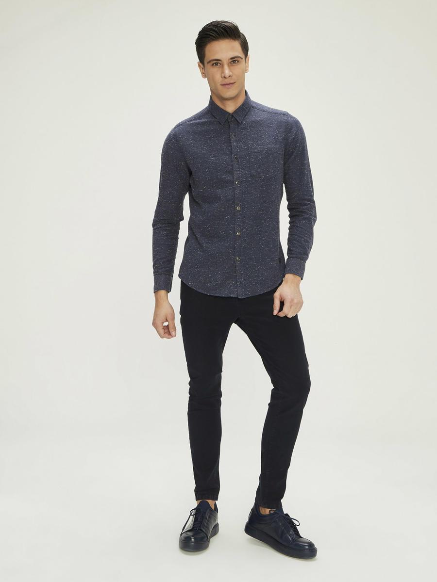 Yünlü Melanjlı Slim Fit Gömlek