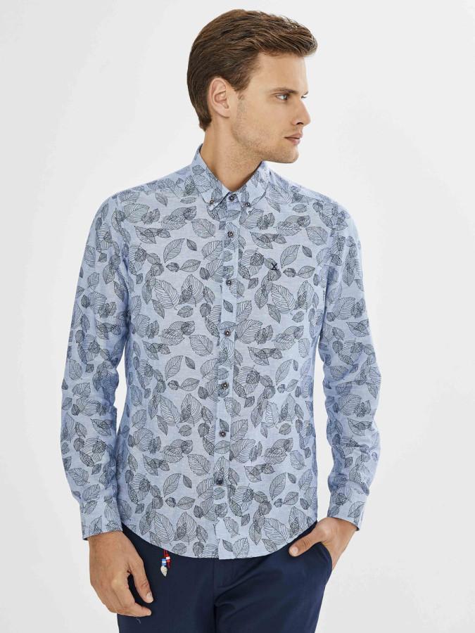 Xint Pamuk Keten Karışımlı Yaprak Desenli Gömlek