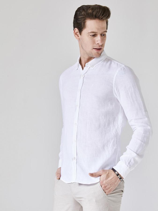 XINT - Xint Slim Fit %100 Keten Gömlek