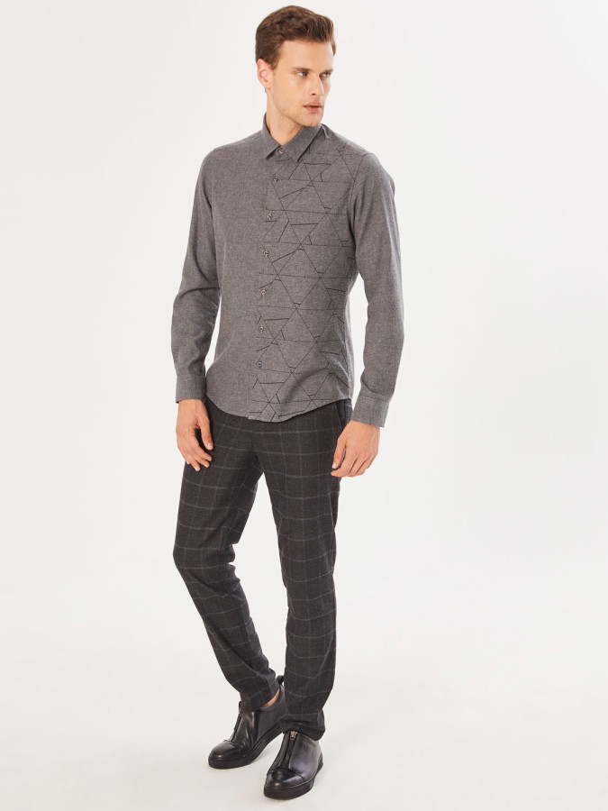 XINT - Xint Slim Fit Baskılı Gömlek (1)