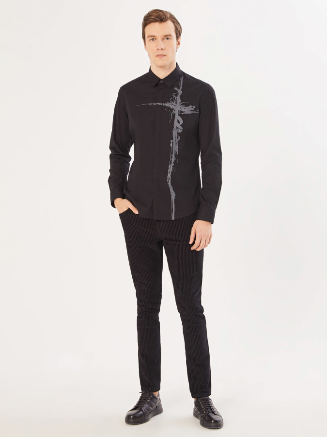 XINT - Xint Slim Fit Baskılı Gömlek