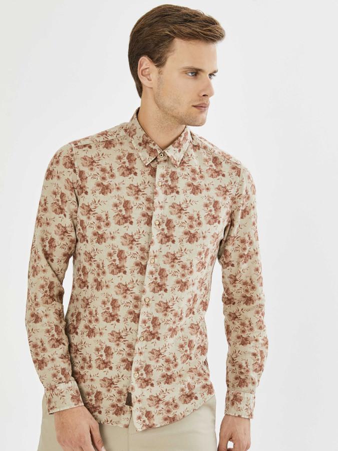 XINT - Xint Erkek Yaka Çiçek Desenli Gömlek (1)
