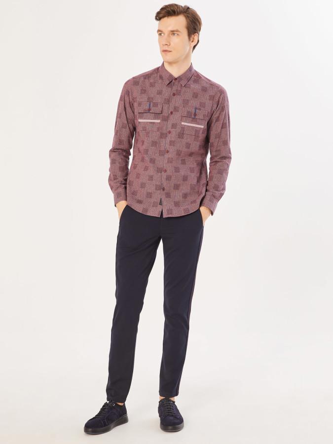 XINT - Xint Slim Fit Desenli Cepli Gömlek (1)