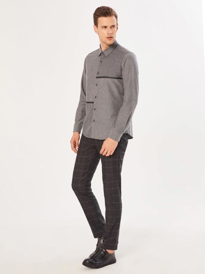 XINT - Xint Slim Fit Garni Kumaş Detaylı Gömlek (1)