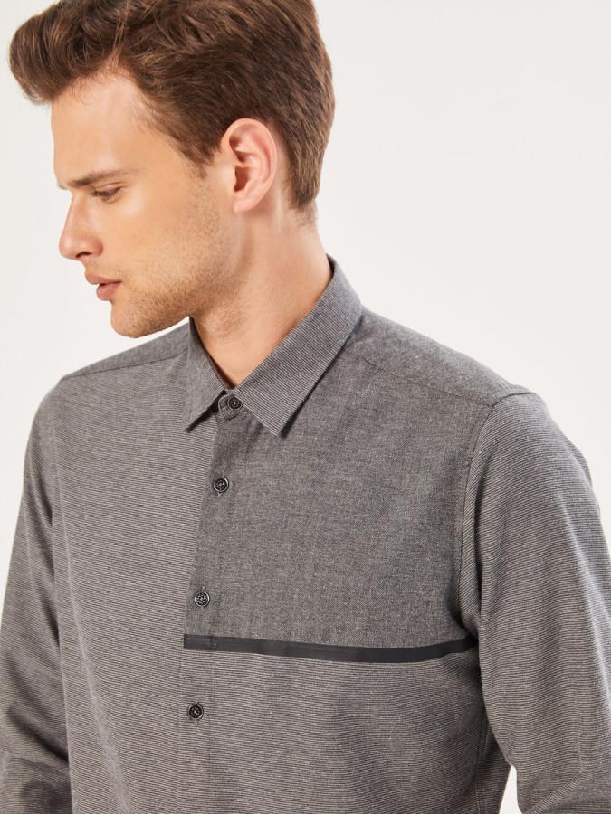 Xint Slim Fit Garni Kumaş Detaylı Gömlek - Thumbnail