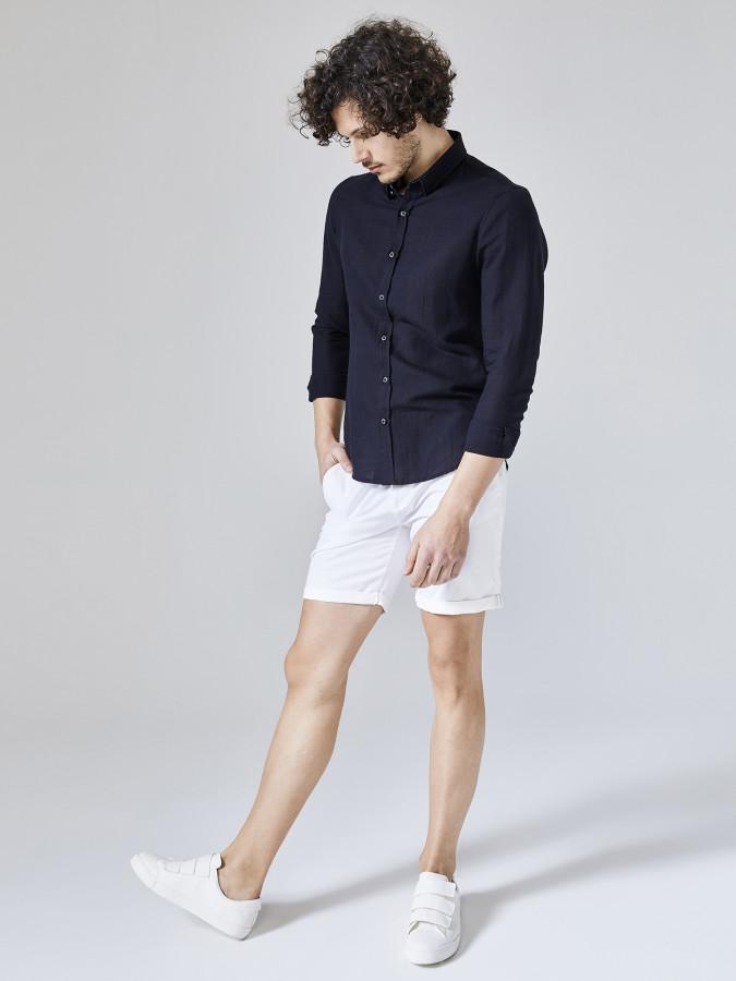 XINT - Xint Slim Fit Keten Pamuk Karışımlı Gömlek (1)