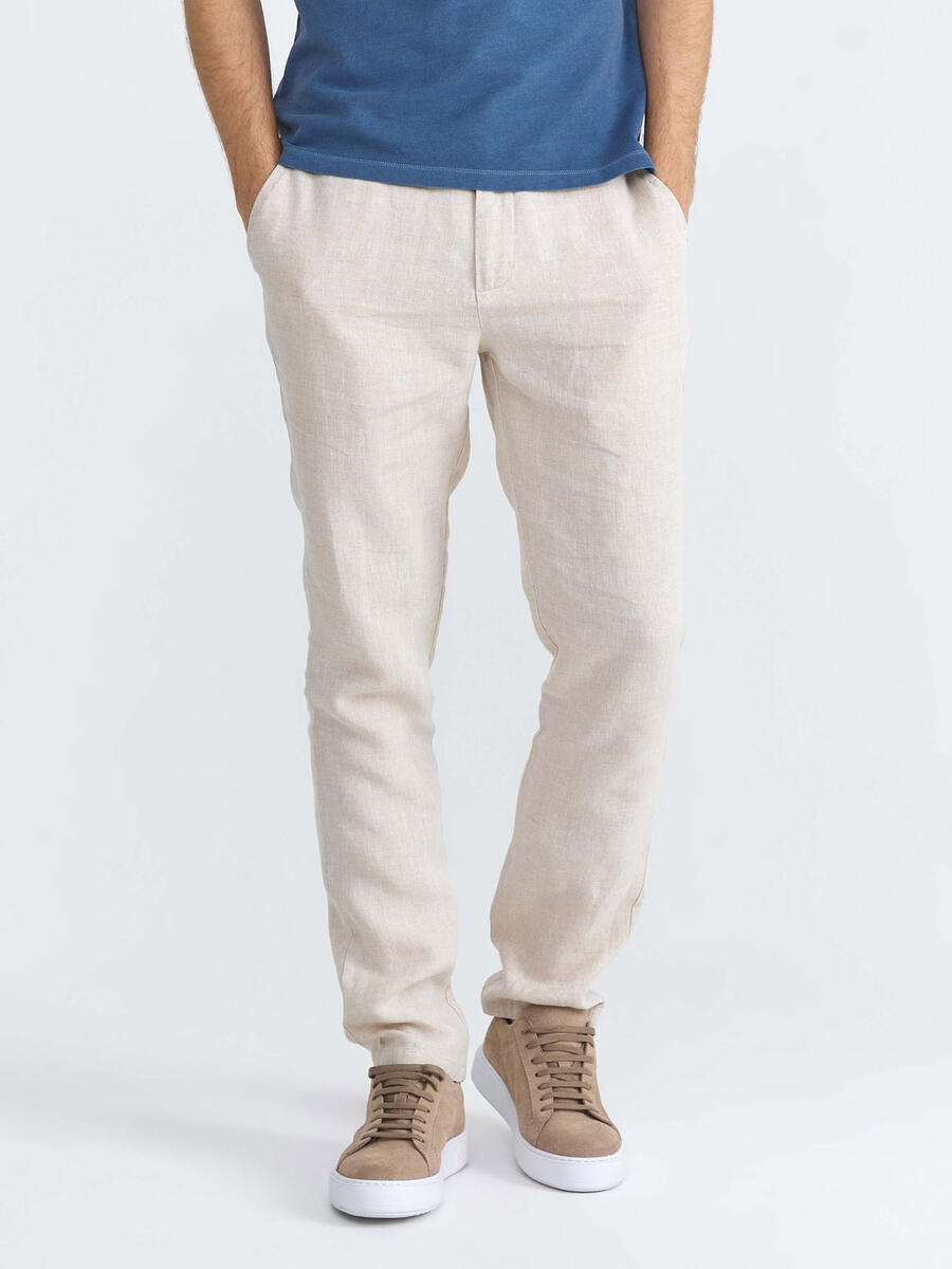 %100 Keten Slim Fit Pantolon