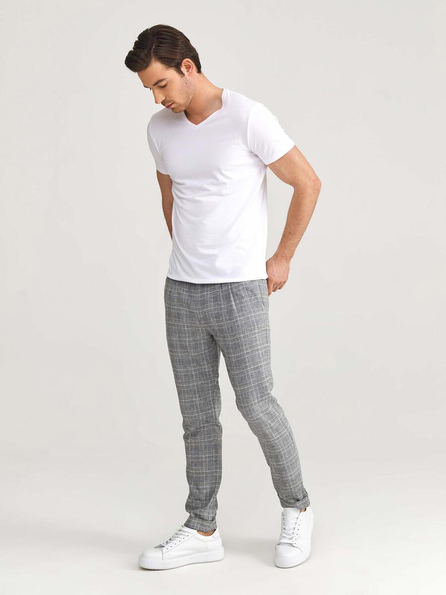 Keten Slim Fit Ekoseli Pantolon