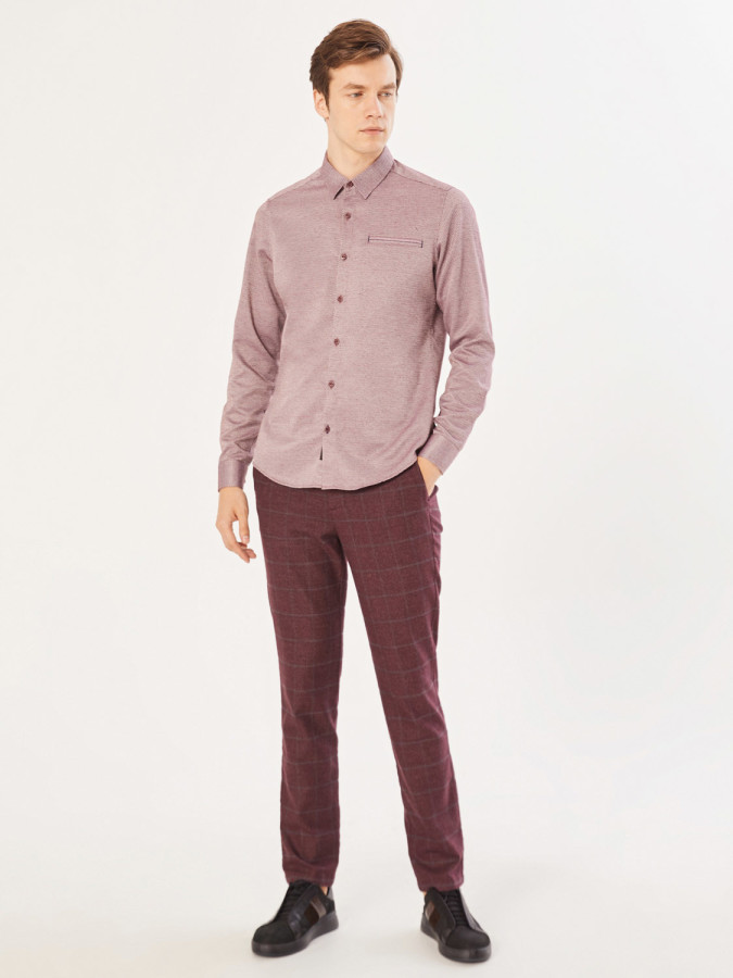 XINT - Xint Slim Fit Kare Desenli Pantolon