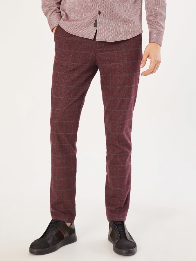 XINT - Xint Slim Fit Kare Desenli Pantolon (1)