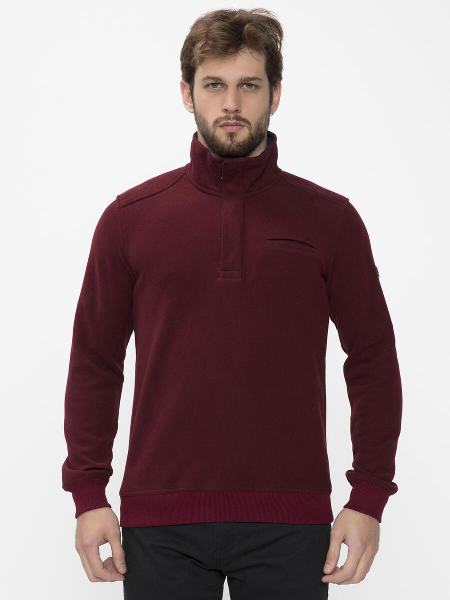 Dik Yaka Fermuarlı Pamuklu Sweatshirt