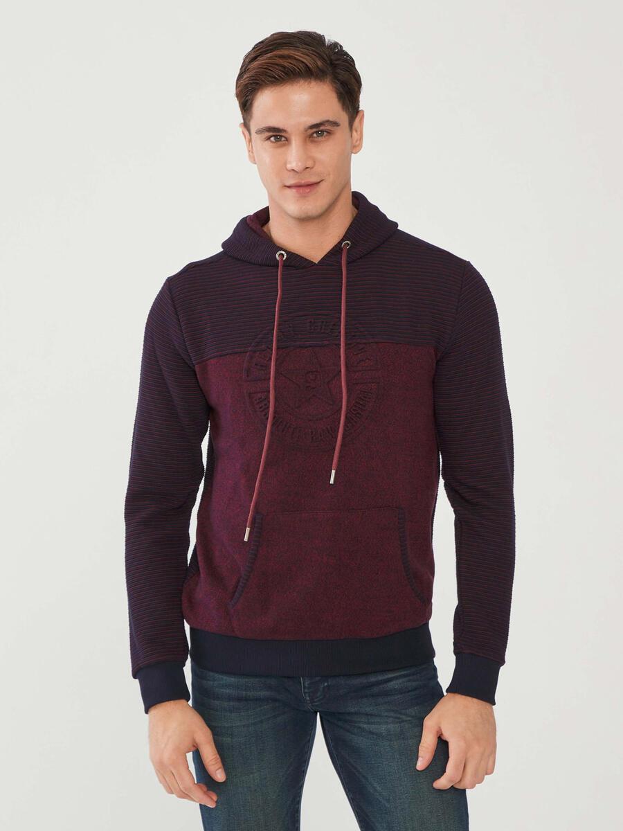 Kapüşonlu Pamuklu Baskılı Sweatshirt