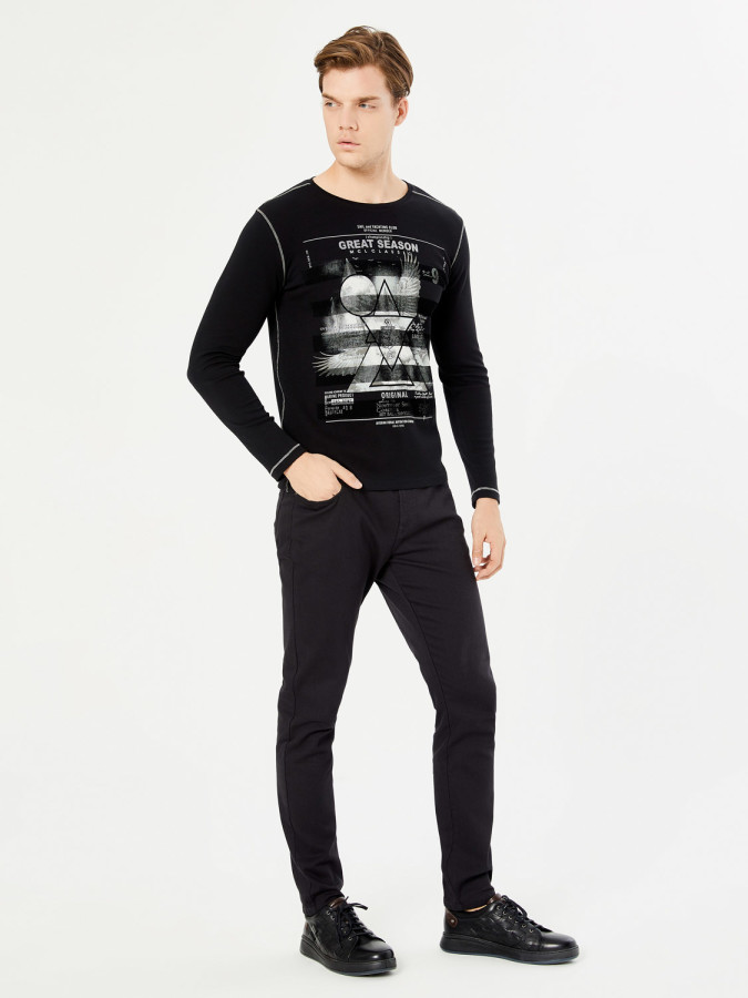 MCL - MCL Bisiklet Yaka Baskılı Sweatshirt (1)