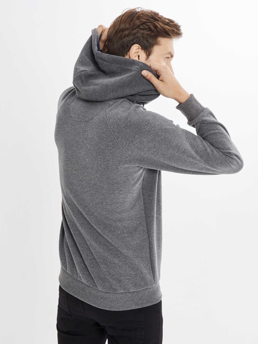 Kapüşonlu Baskılı Pamuklu Büyük Beden Sweatshirt