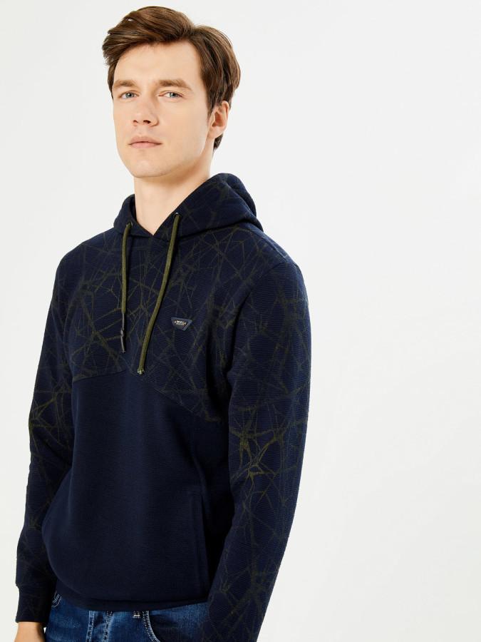Kapüşonlu Baskılı Pamuklu Sweatshirt