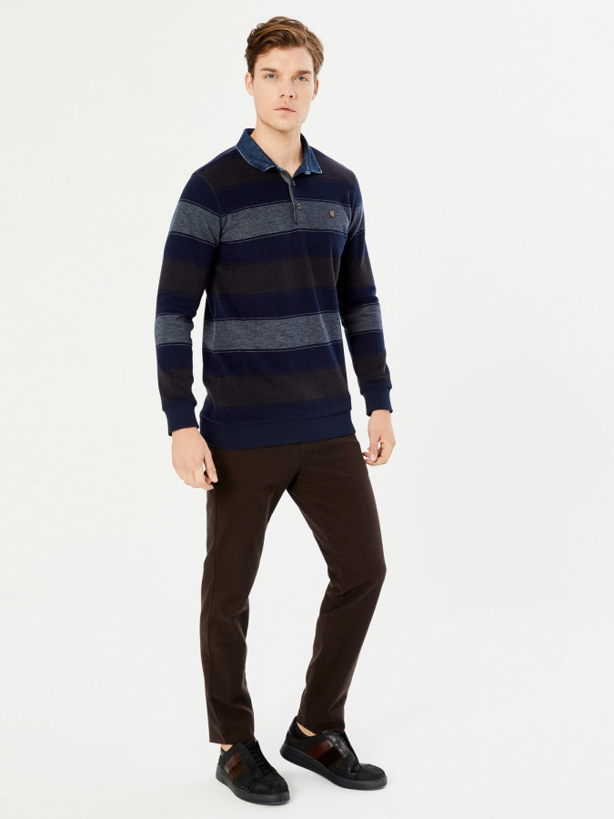 MCL - MCL Polo Yaka Çizgili Sweatshirt (1)