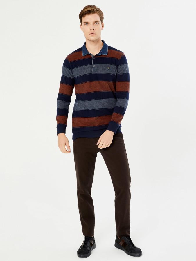 MCL - MCL Polo Yaka Çizgili Sweatshirt