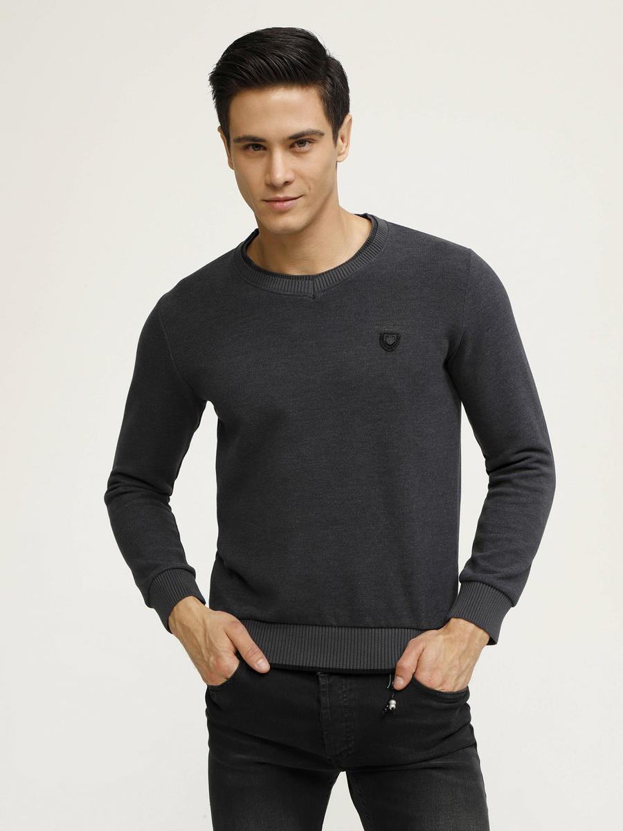 V Yaka Pamuklu Büyük Beden Sweatshirt