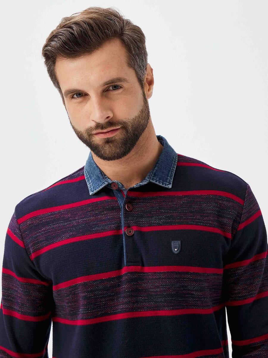 Polo Yaka Pamuklu Çizgili Sweatshirt