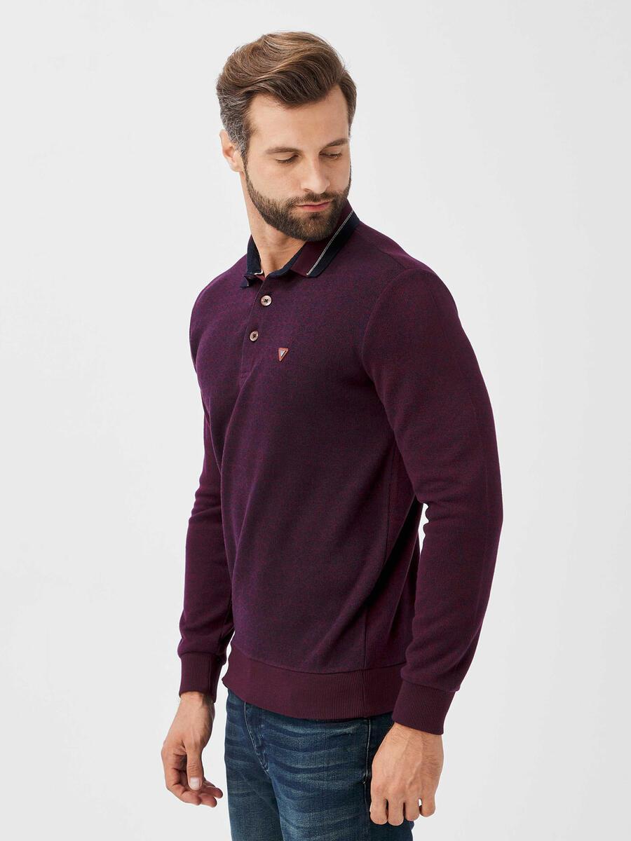 Polo Yaka Pamuklu Sweatshirt